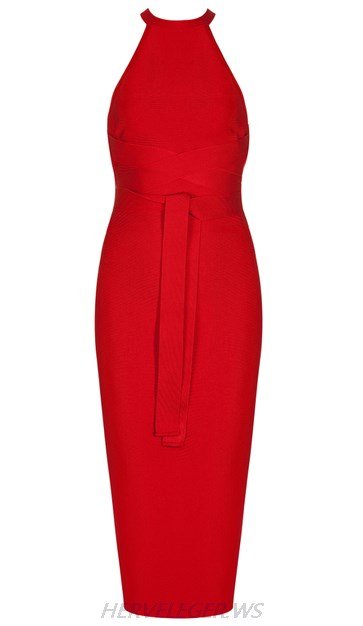 Herve Leger Red Tie Waist Dress