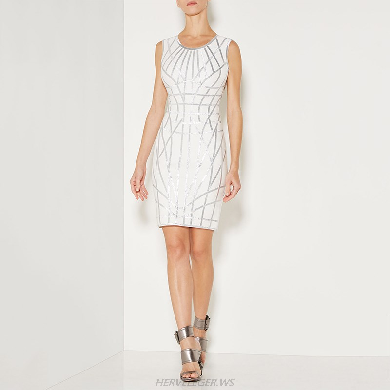 Herve Leger White Silver Woodgrain Foil Print Dress