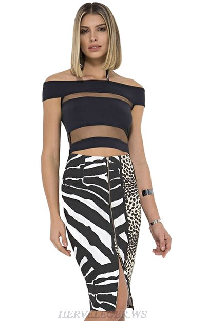 Herve Leger Animal Print Bardot Two Piece Strapless Dress