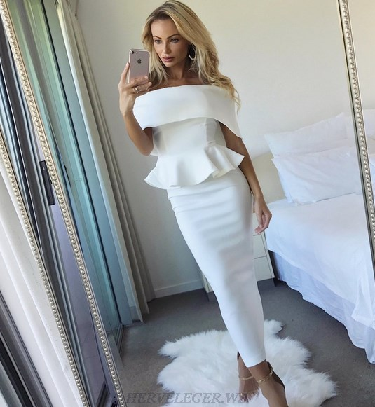 Herve Leger White Strapless Bardot Peplum Dress