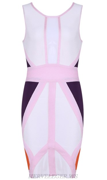 Herve Leger Pink White Purple Colorblock Dress