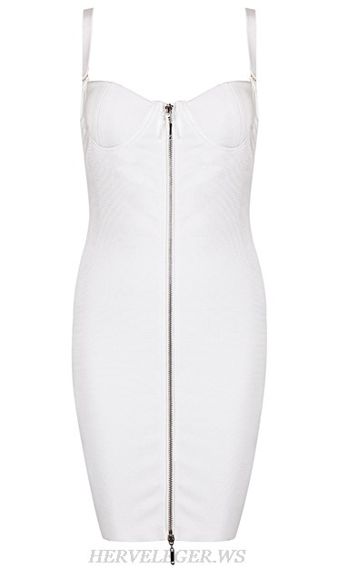 Herve Leger White Front Zipper Bustier Dress