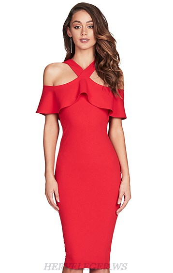 Herve Leger Red Halter Ruffle Dress