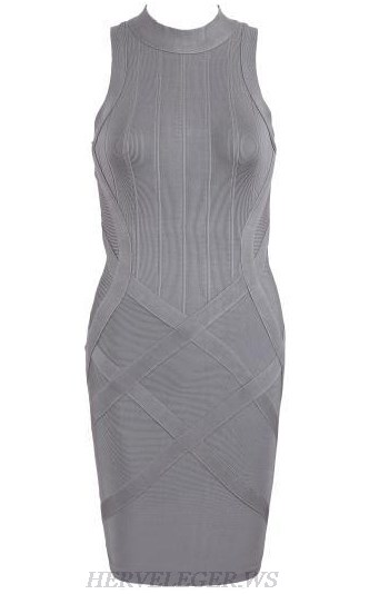 Herve Leger Grey High Neck Dress