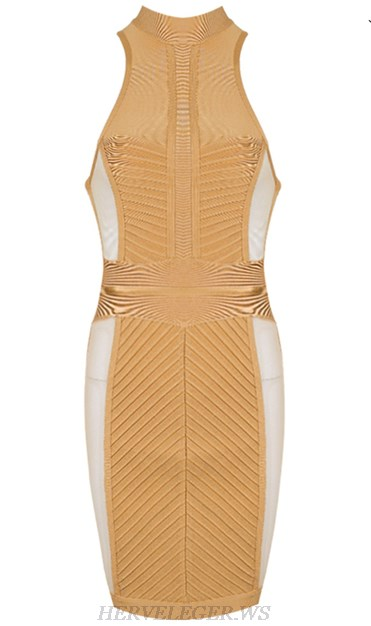 Herve Leger Nude High Neck Mesh Dress