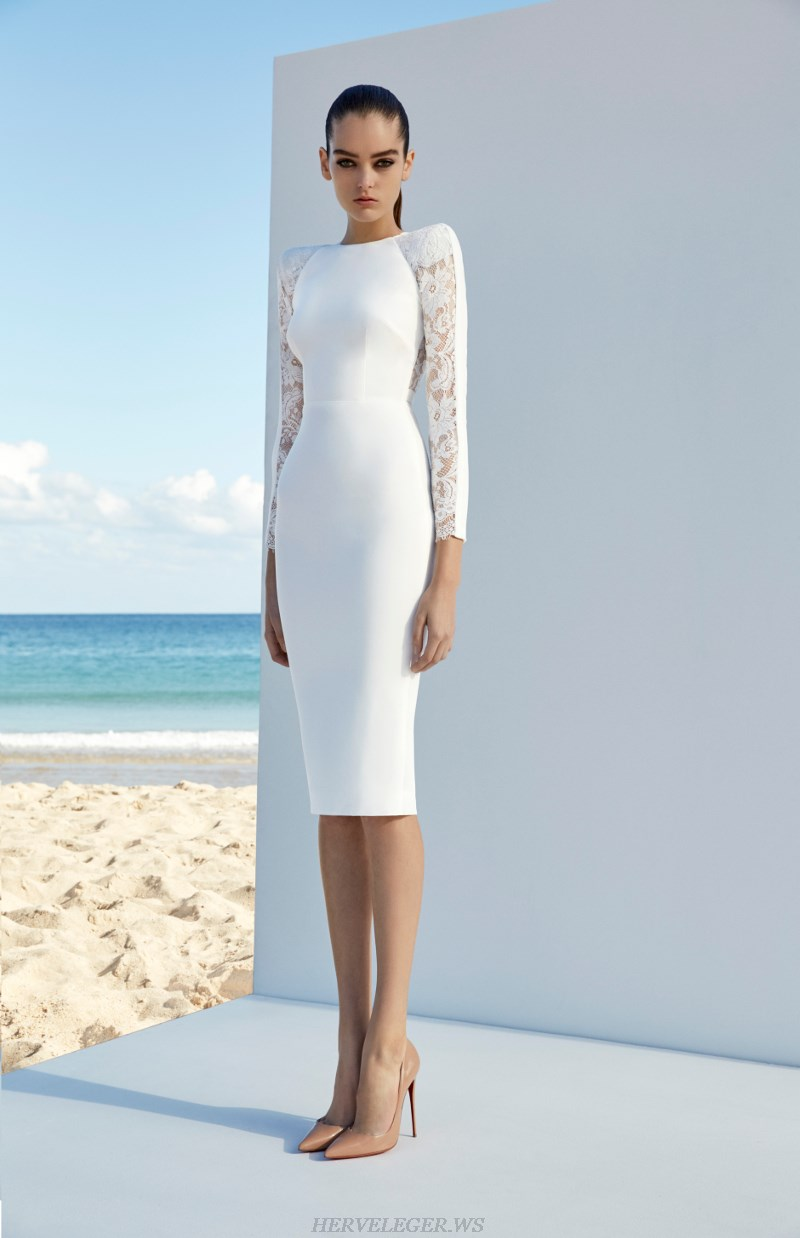 Herve Leger White Lace Long Sleeve Dress