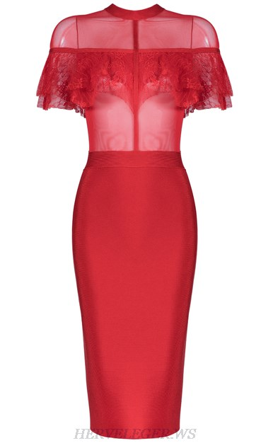Herve Leger Red Lace Ruffle Mesh Dress