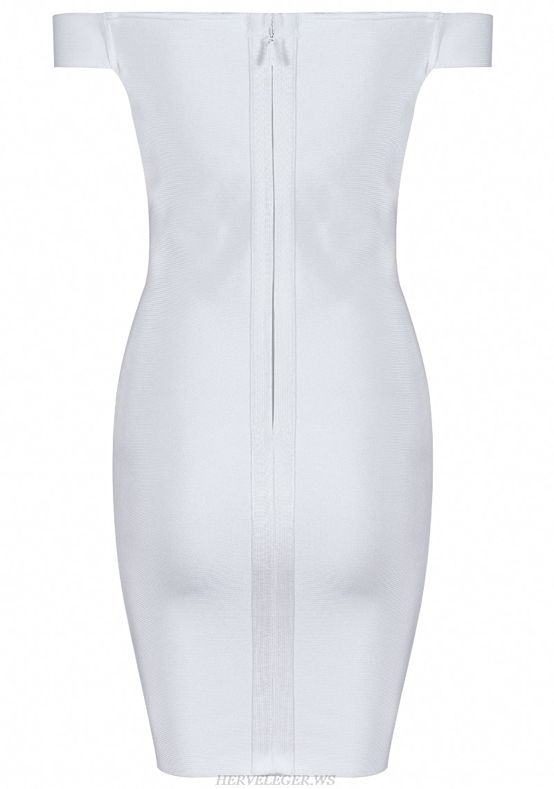 Herve Leger White Lace Up Bardot Strapless Dress