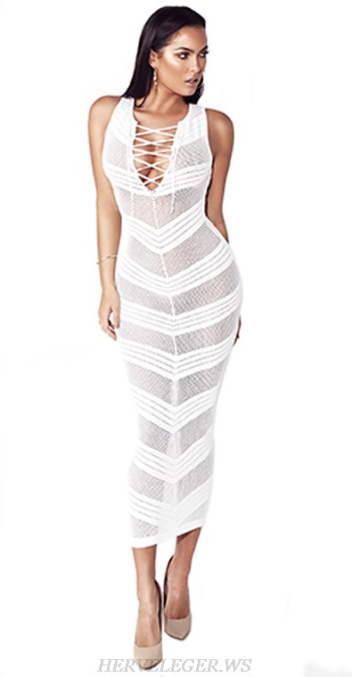 Herve Leger White Lace Up Crochet Gown