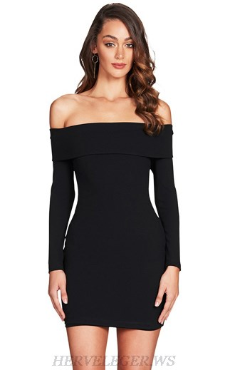Herve Leger Black Strapless Long Sleeve Bardot Dress