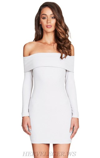 Herve Leger White Strapless Long Sleeve Bardot Dress