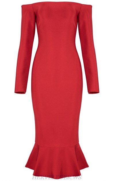Herve Leger Red Strapless Long Sleeve Bardot Fluted Dress