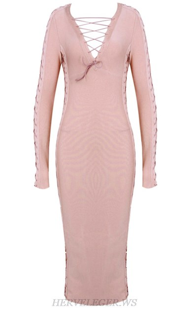 Herve Leger Pink V Neck Long Sleeve Lace Up Dress