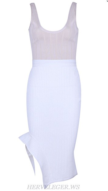 Herve Leger Nude And White Two Piece Dress
