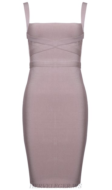 Herve Leger Taupe Strappy Dress