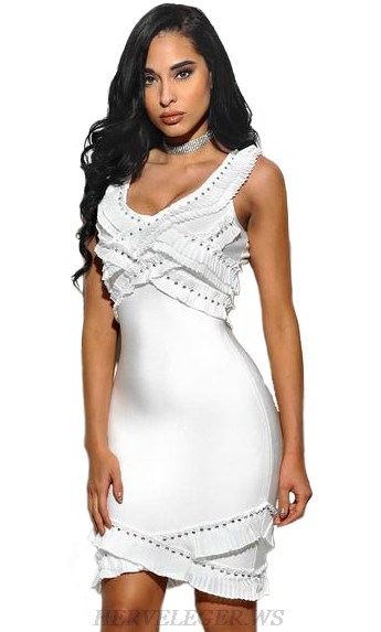 Herve Leger White Studded Ruffle Dress