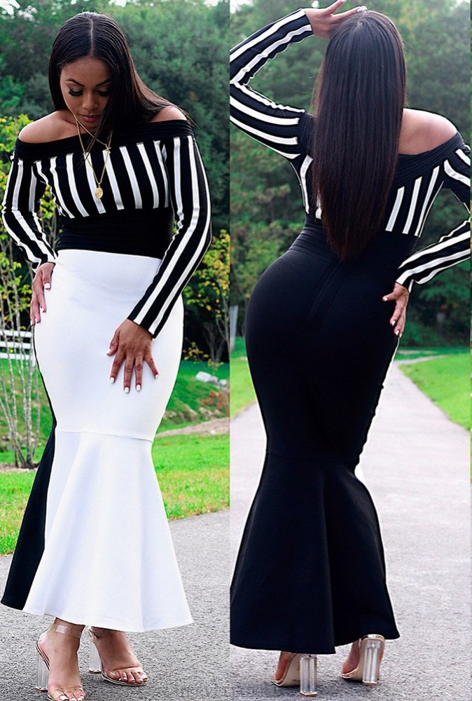 Herve Leger Black And White Long Sleeve Bardot Fluted Strapless Gown