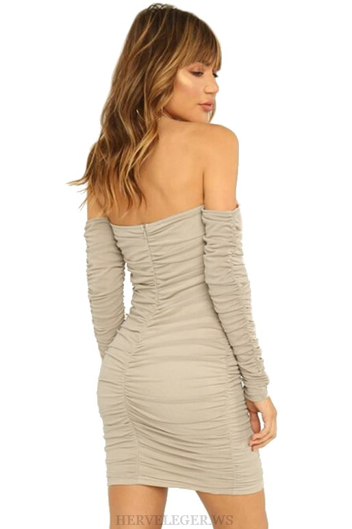 Herve Leger Long Sleeve Bardot Gathered Mesh Strapless Dress
