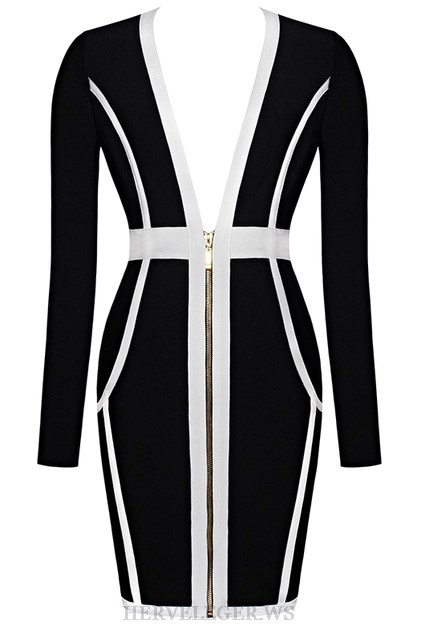 Herve Leger Black And White V Neck Long Sleeve Front Zipper Dress