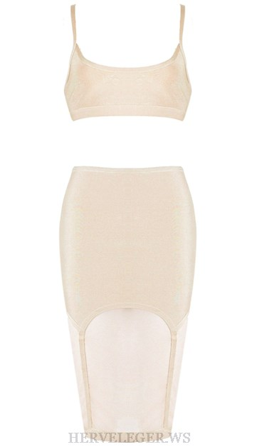 Herve Leger Nude Mesh Two Piece Dress