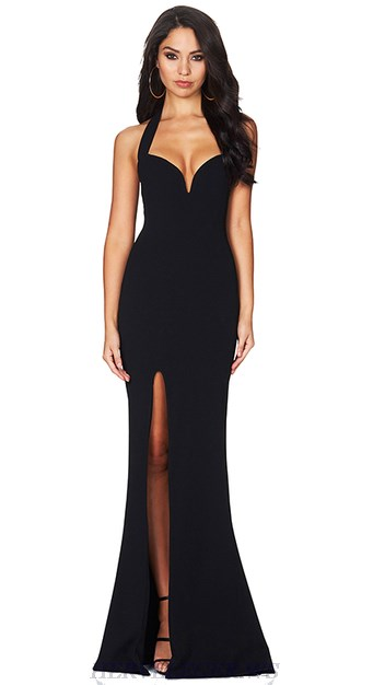Herve Leger Black Halter Slit Mermaid Evening Bandage Gown