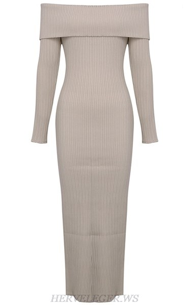 Herve Leger Nude Strapless Long Sleeve Bardot Ribbed Gown
