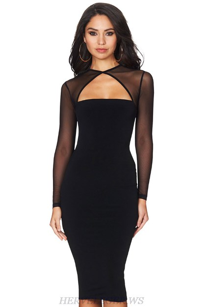 Herve Leger Black Long Sleeve Geo Mesh Bandage Dress