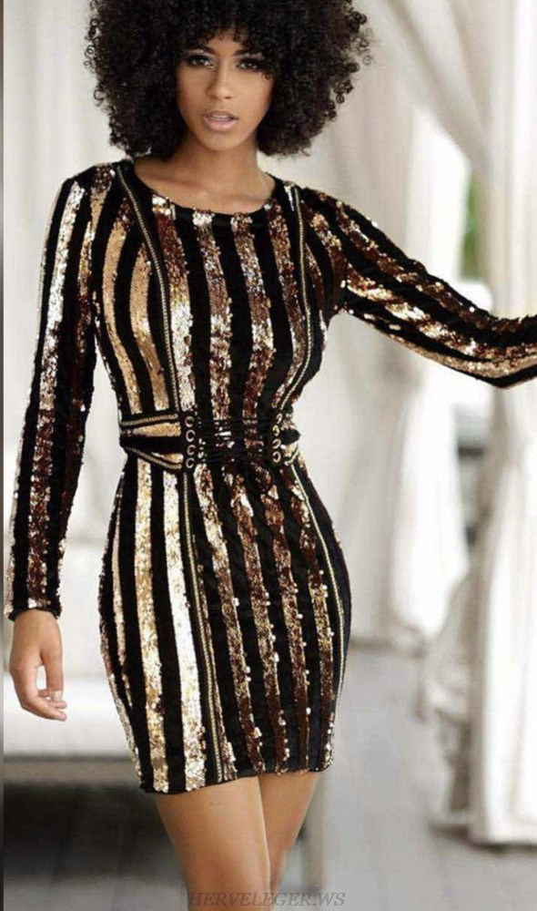 Herve Leger Gold Long Sleeve Sequin Corset Detail Dress