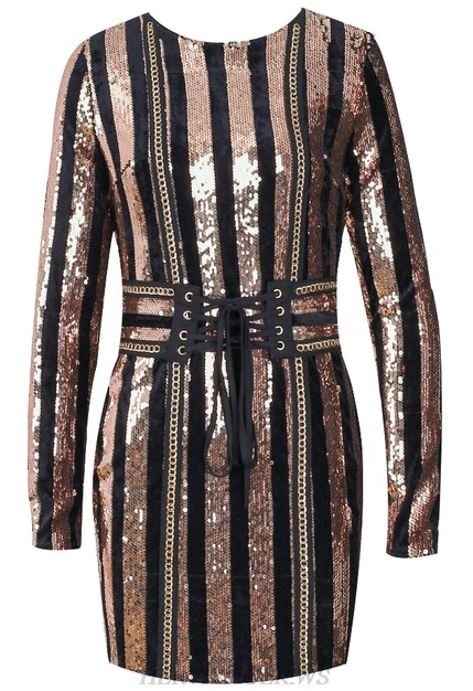 Herve Leger Rose Gold Long Sleeve Sequin Corset Detail Dress