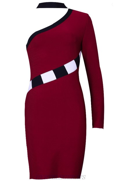 Herve Leger Burgundy One Sleeve Choker Bandage Dress