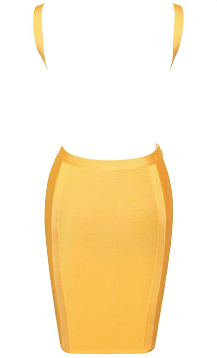 Herve Leger Yellow Backless Dress