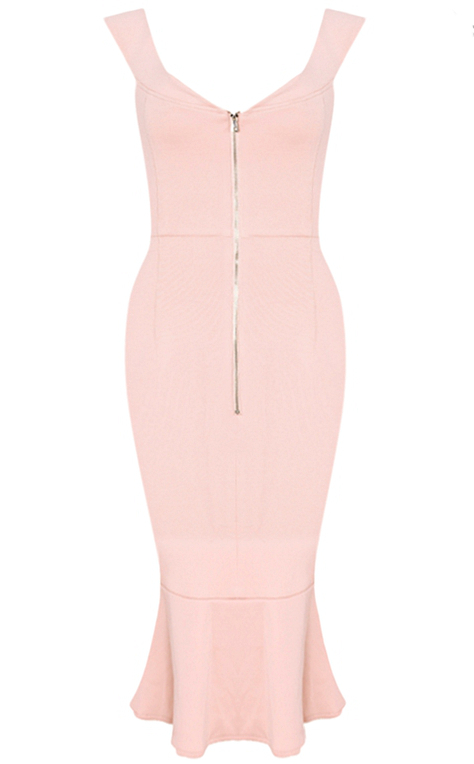 Herve Leger Pink Strapless Bardot Fluted Dress