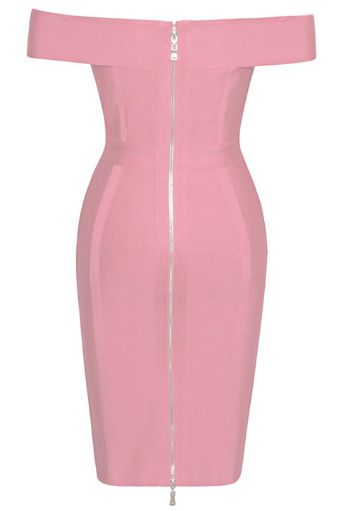 Herve Leger Pink Strapless Bardot Lace Up Chain Dress