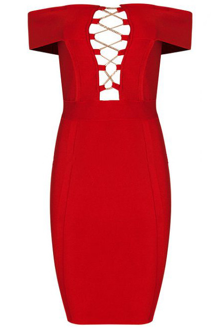 Herve Leger Red Strapless Bardot Lace Up Chain Stars Dress