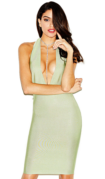Herve Leger Green Deep V Neck Chain Halter Dress