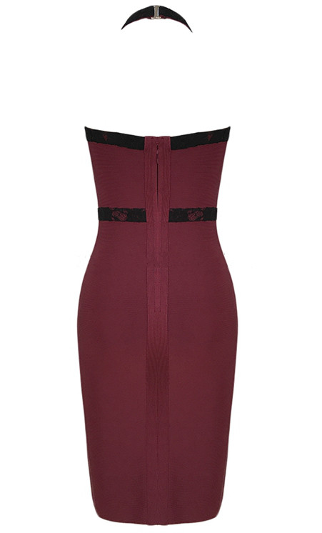 Herve Leger Burgundy Black Halter Lace Dress