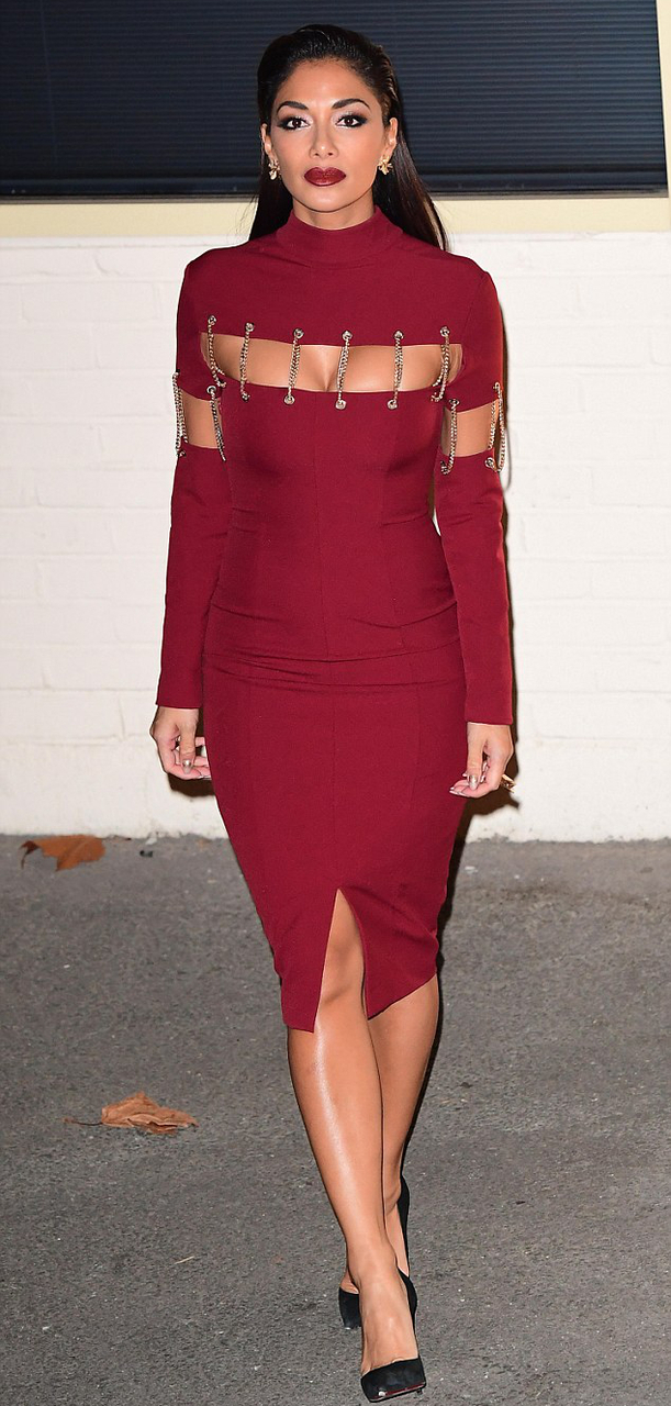 Herve Leger Red Long Sleeve Chain Midi Stars Dress