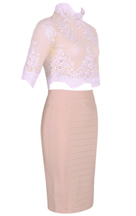 Herve Leger Nude Short Sleeve Lace Midi Two Piece Stars Dress