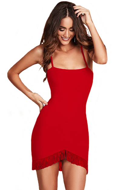 Herve Leger Red Tassel Dress