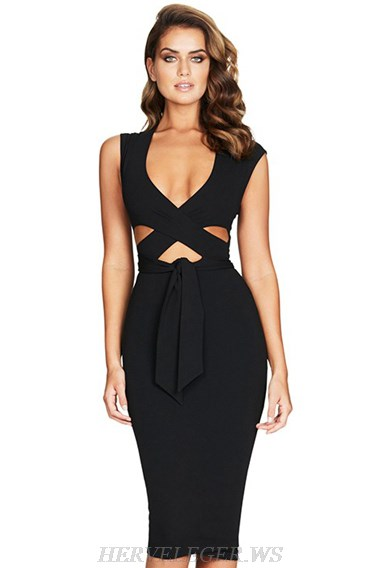 Herve Leger Black V Neck Cross Over Cut Out Dress