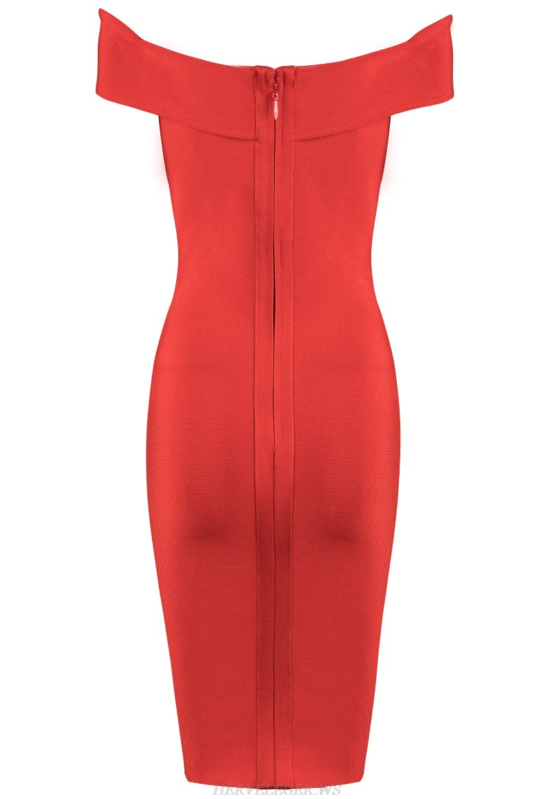 Herve Leger Red Crossover Bardot Strapless Dress