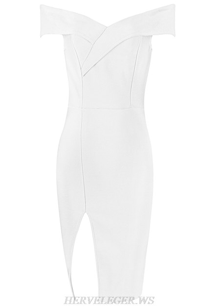 Herve Leger White Crossover Bardot Strapless Dress