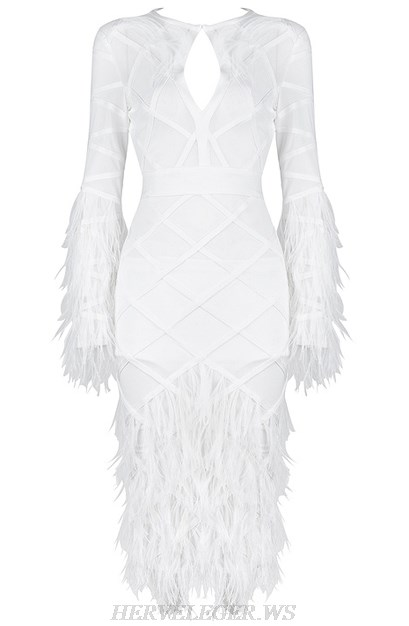 Herve Leger White Feather Long Sleeve Mesh Dress