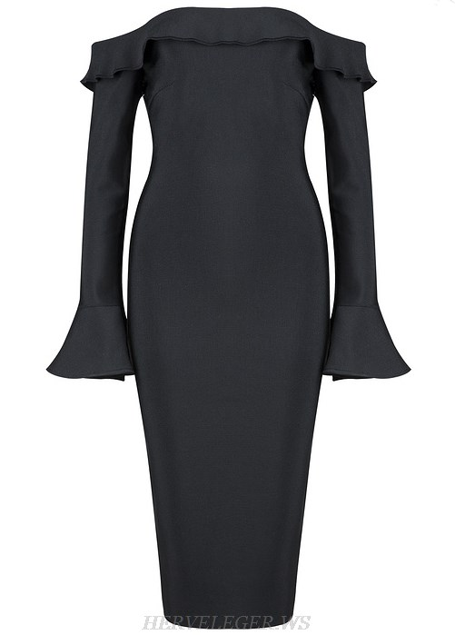 Herve Leger Black Fluted Long Sleeve Bardot Strapless Dress