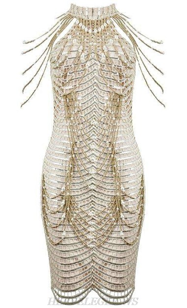 Herve Leger White Gold Halter Chain Embellished Crochet Dress