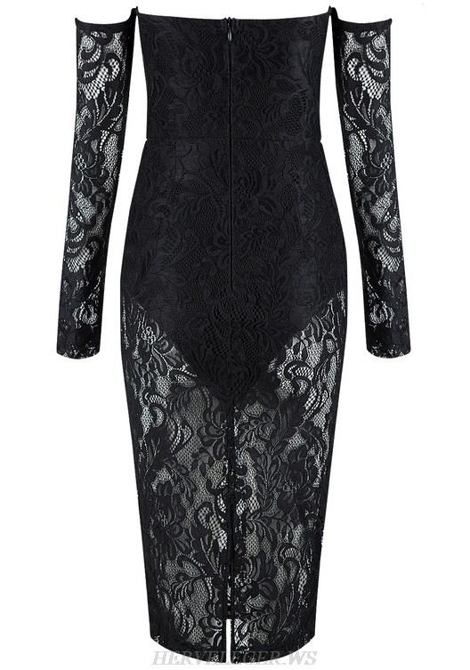 Herve Leger Black Long Sleeve Bardot Lace Strapless Dress