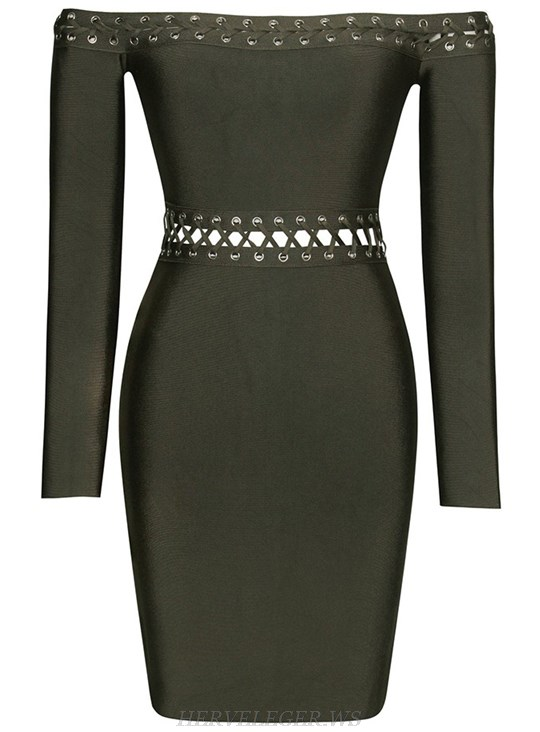 Herve Leger Green Long Sleeve Bardot Lace Up Strapless Dress