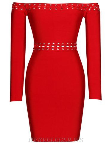 Herve Leger Red Long Sleeve Bardot Lace Up Dress