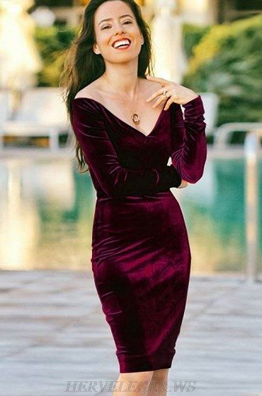 Herve Leger Wine Long Sleeve Bardot Velvet Strapless Dress
