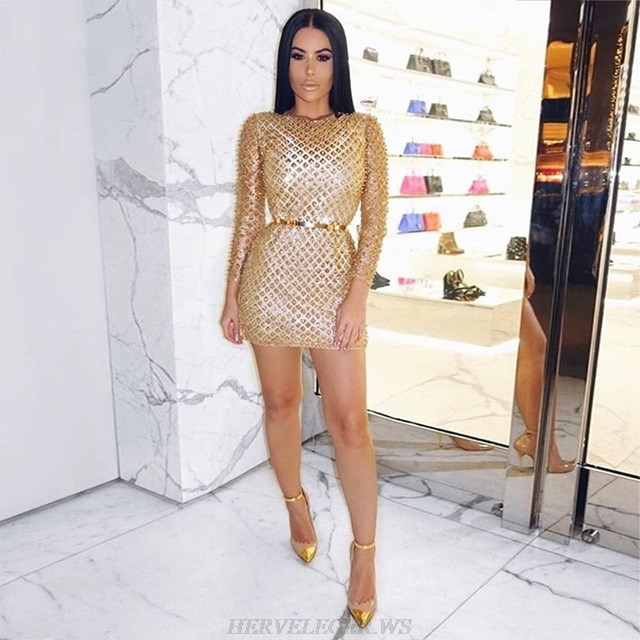 Herve Leger Gold Long Sleeve Embellished Stars Dress